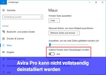 Avira Pro kann nicht vollständig deinstalliert werden