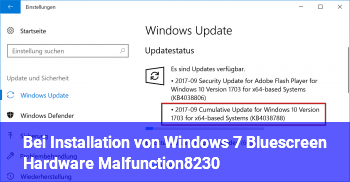 Bei Installation von Windows 7: Bluescreen: Hardware Malfunction…