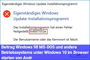 """Beitrag """"Windows 98, MS-DOS und andere Betriebssysteme unter Windows 10 im Browser starten"""" von Andr"""