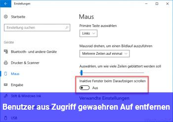 """Benutzer aus """"Zugriff gewähren Auf"""" entfernen"""