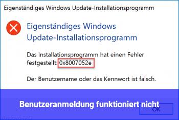Benutzeranmeldung funktioniert nicht