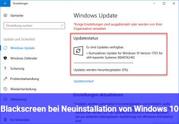 Blackscreen bei Neuinstallation von Windows 10