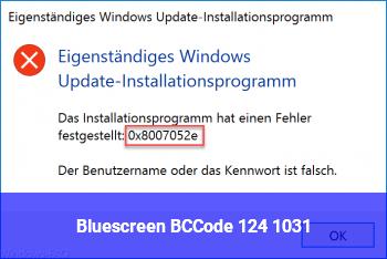 Bluescreen BCCode: 124 1031