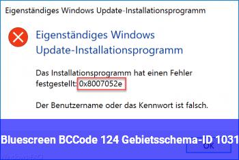 Bluescreen BCCode 124 | Gebietsschema-ID 1031