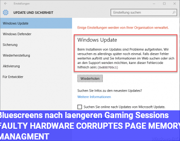 Bluescreens nach längeren Gaming Sessions: FAULTY HARDWARE CORRUPTES PAGE & MEMORY MANAGMENT