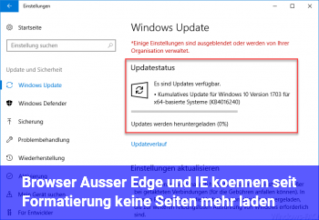 Browser (Außer Edge und IE) können seit Formatierung keine Seiten mehr laden.