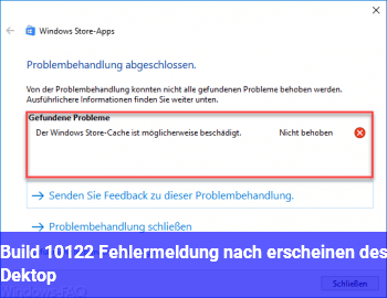 Build 10122 Fehlermeldung nach erscheinen des Dektop