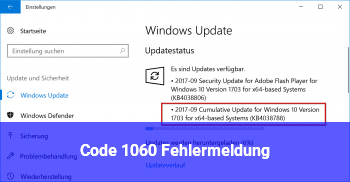 Code 1060 Fehlermeldung