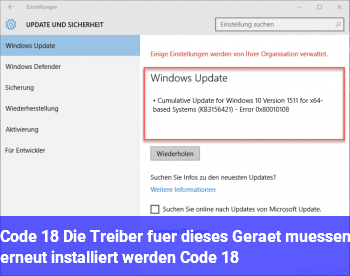 """Code 18 """"Die Treiber für dieses Gerät müssen erneut installiert werden. (Code 18)"""""""