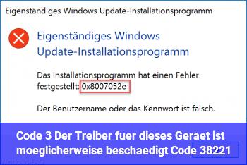 """Code 3 """"Der Treiber für dieses Gerät ist möglicherweise beschädigt… (Code 3)"""""""
