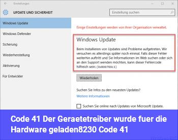 """Code 41 """"Der Gerätetreiber wurde für die Hardware geladen… (Code 41)"""""""