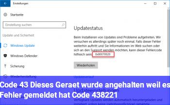 """Code 43 """"Dieses Gerät wurde angehalten, weil es Fehler gemeldet hat. (Code 43)"""""""