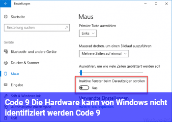 """Code 9 """"Die Hardware kann von Windows nicht identifiziert werden… (Code 9)"""""""