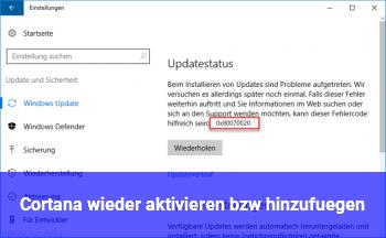 Cortana wieder aktivieren bzw. hinzufügen