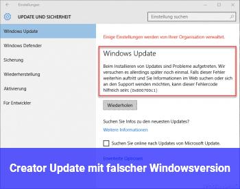 Creator Update mit falscher Windowsversion
