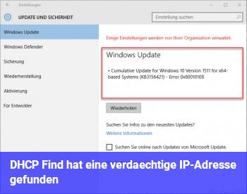 DHCP Find hat eine verdächtige IP-Adresse gefunden