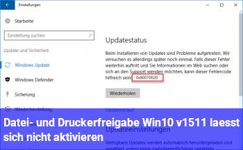 Datei- und Druckerfreigabe Win10 v1511 läßt sich nicht aktivieren