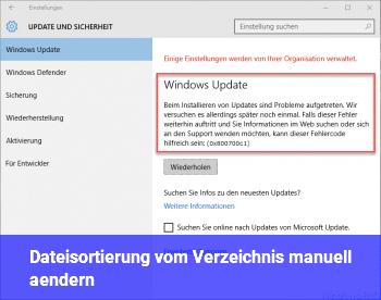 Dateisortierung vom Verzeichnis manuell ändern