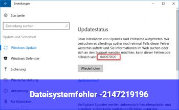 Dateisystemfehler (-2147219196)