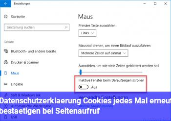 Datenschutzerklärung / Cookies jedes Mal erneut bestätigen bei Seitenaufruf