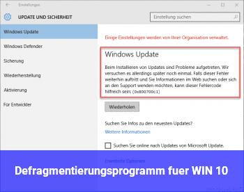 Defragmentierungsprogramm für WIN 10