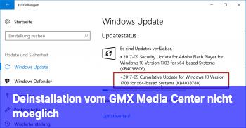 Deinstallation vom GMX Media Center nicht möglich