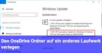 Den OneDrive Ordner auf ein anderes Laufwerk verlegen