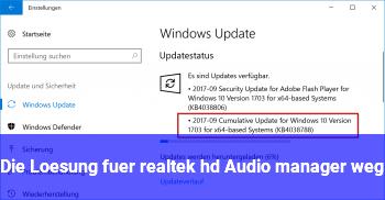 Die Lösung für realtek hd Audio manager weg