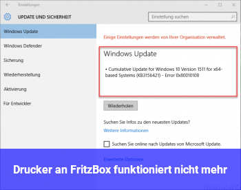 Drucker an Fritz!Box funktioniert nicht mehr