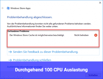 Durchgehend 100% CPU Auslastung