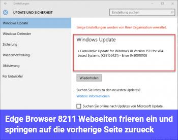 Edge Browser – Webseiten frieren ein und springen auf die vorherige Seite zurück