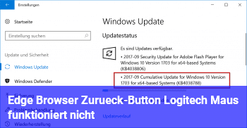 Edge Browser / Zurück-Button Logitech Maus funktioniert nicht