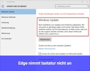 Edge nimmt tastatur nicht an