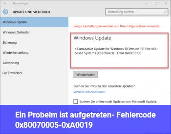 Ein Probelm ist aufgetreten- Fehlercode 0x80070005-0xA0019