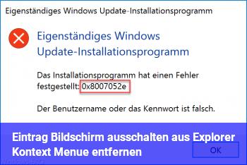 """Eintrag """"Bildschirm ausschalten"""" aus Explorer Kontext Menü entfernen"""