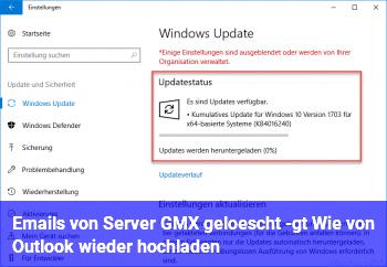 Emails von Server (GMX) gelöscht -> Wie von Outlook wieder hochladen?