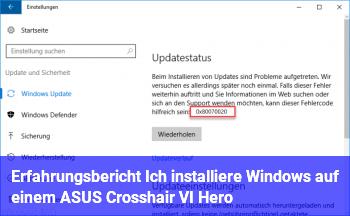 Erfahrungsbericht: Ich installiere Windows auf einem ASUS Crosshair VI Hero
