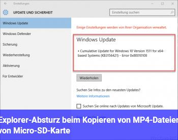 Explorer-Absturz beim Kopieren von MP4-Dateien von Micro-SD-Karte
