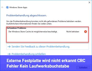 Externe Festplatte wird nicht erkannt / CRC Fehler / Kein Laufwerksbuchstabe