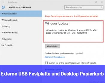 Externe USB Festplatte und Desktop Papierkorb