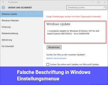 "Falsche ""Beschriftung"" in Windows Einstellungsmenü"