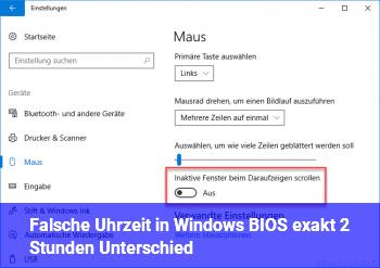 Falsche Uhrzeit in Windows + BIOS (exakt 2 Stunden Unterschied)