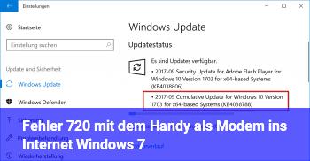 Fehler 720 mit dem Handy als Modem ins Internet (Windows 7)