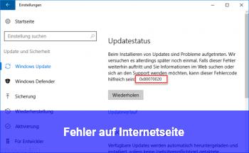 Fehler auf Internetseite