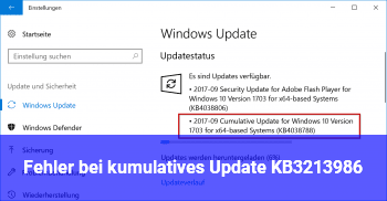 Fehler bei kumulatives Update KB3213986