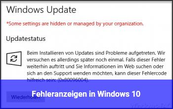 Fehleranzeigen in Windows 10