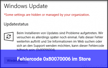 Fehlercode 0x80070006 im Store