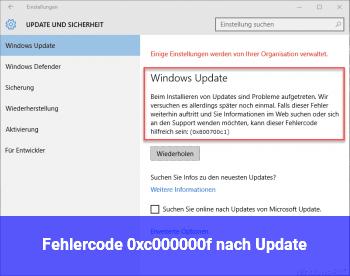 Fehlercode 0xc000000f nach Update