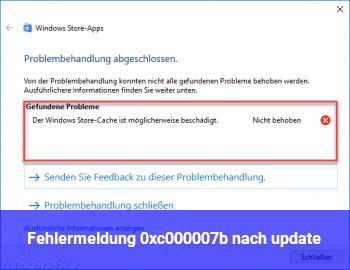Fehlermeldung 0xc000007b nach update