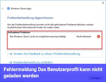 """Fehlermeldung """"Das Benutzerprofil kann nicht geladen werden"""""""